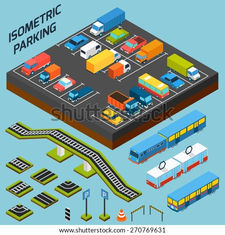 Isometric parking with 3d cars trucks and and buses elements isolated vector illustration - stock vector