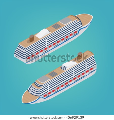 Isometric Passenger Ship. Tourism Industry. Cruise Liner Travel. Mode of Transportation. Vector illustration