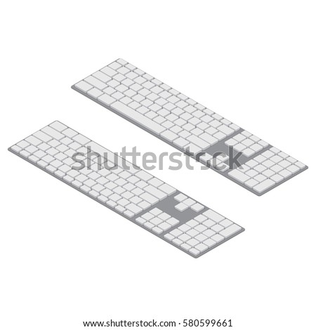 isometric PC keyboards. Objects isolated. White wireless computer keyboard Isometric Vector Illustration Created For Mobile, Web, Decor, Print Products, Application on white background