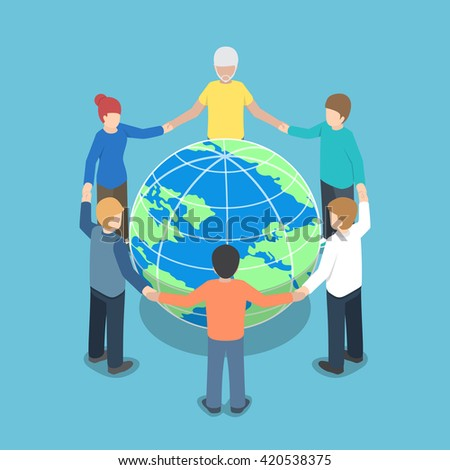 Isometric people around the world holding hands, teamwork, global business, unity concept, VECTOR, EPS10 - stock vector
