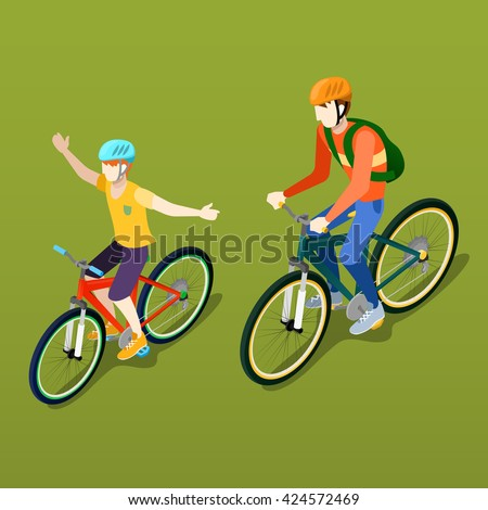 Isometric People. Isometric Bicycle. Father and Son Cyclist. Boy on Bicycle. Active People. Healthy Lifestyle. City Life. Outdoor People. Family vacation. Young Cyclist. Vector illustration - stock vector