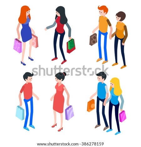 Isometric people, men and women with shopping bags. Set of 3d people. Young people with shopping bags in a flat style. Vector illustration. - stock vector