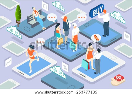 Isometric People Online Shopping and Rating Network Concept 3D Flat Vector Illustration. Online Shop Network People Chat and Store Evaluation. Virtual Life Style. - stock vector