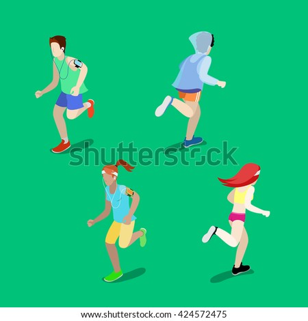 Isometric People. Running Man. Running Woman. Active People. Healthy Lifestyle. City Life. Young Adults on Running. Sportsman Exercises. Morning Running. Vector illustration - stock vector