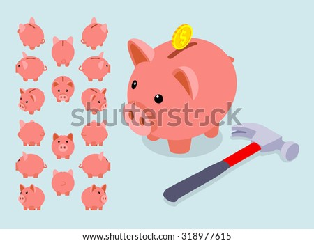 Isometric piggy bank. Set of piggy moneyboxes. The objects are isolated against a light blue background and shown from different sides - stock vector