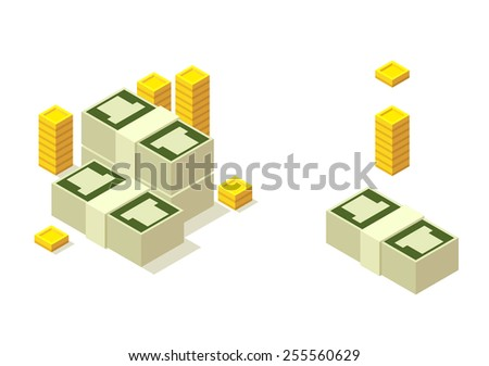 Isometric pile of money with separate elements to mix and match, isolated on white background. - stock vector