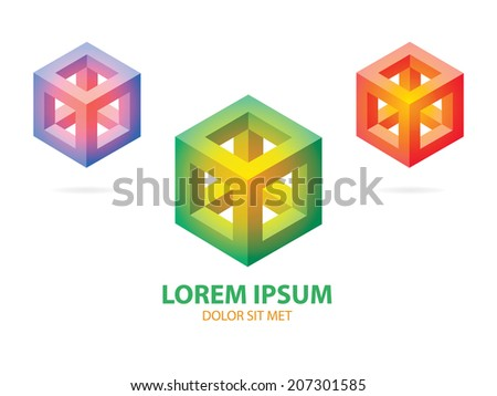 Isometric Pink,Blue,Red and Green Corporate Icon in the Form of Gradient Cube - stock vector