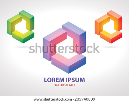 Isometric Pink-Blue, Yellow-Red and Yellow-Green Corporate Logo Icon in the Form of Gradient Cube - stock vector
