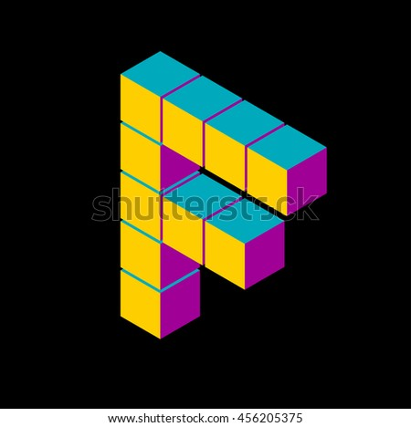 isometric pixel letter f 3D letter o Isometric f abc. Alphabet on black . pixel f letters, isometric lettering. 3d f. Geometric alphabet, Cube font. Cube letters. 3d pixel lettering, Word elements f - stock vector