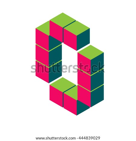 isometric pixel letter o. 3D letter o. Isometric red o abc. Alphabet on white. pixel letters, isometric lettering. 3d o. Geometric alphabet, Cube font. Cube letters. 3d pixel lettering, Word elements - stock vector