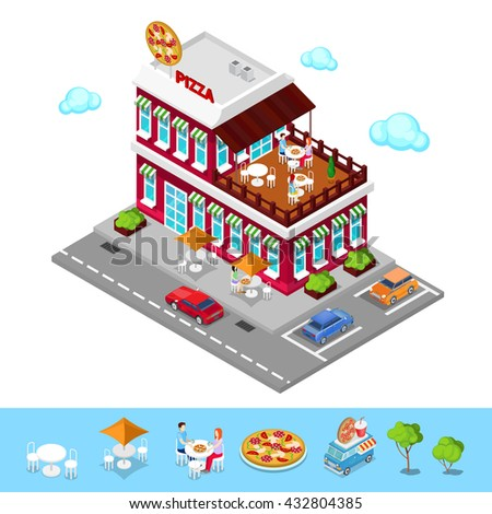 Isometric Pizzeria. Modern Restaurant with Parking Zone. People in Pizzeria. Isometric Pizzeria, Isometric Restaurant, Fast Food, Pizza Restaurant, Italian Pizza, Italian Food. Vector illustration