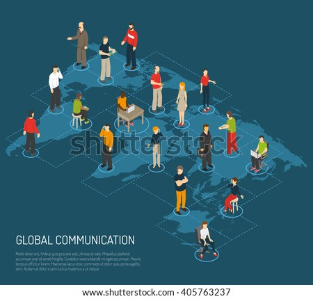 Isometric poster people connected global communication stock isometric poster of people connected to global communication on world map dark blue background vector illustration gumiabroncs Choice Image