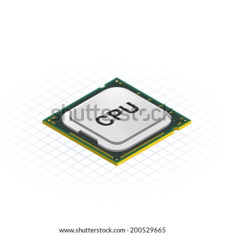 Isometric Processor Vector Illustration - stock vector