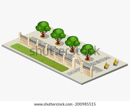 Isometric projection of the vector of urban garden - stock vector