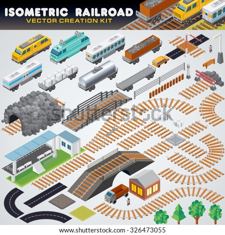 Isometric Railroad Train. Detailed 3D Vector Illustration Include: Retro Locomotive, Oil Tank, Refrigerated Van, Freight Flat Wagon, Box Car.