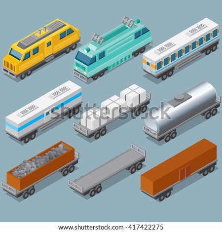 Isometric Railroad Train. Vector Include Retro Locomotive, Oil Tank, Refrigerated Van, Freight Flat Wagon, Box Car. - stock vector