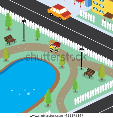 isometric residential view cartoon character