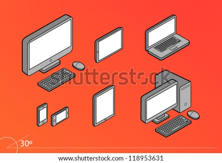 Isometric Responsive Design Screens Computers Pack - stock vector