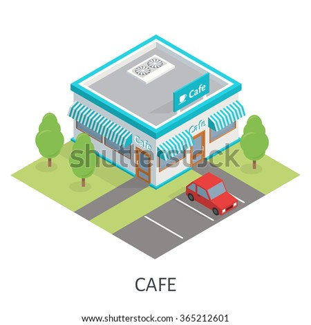 Isometric restaurant cafe and trees. Flat building icon. Car parking. - stock vector