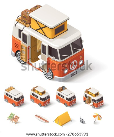 Isometric retro camper van and travelers equipment - stock vector