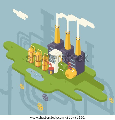 Isometric Retro Flat Factory Refinery Plant Manufacturing Products Processing Natural Resources with Distribution Network Pipes Concept Vector Illustration - stock vector