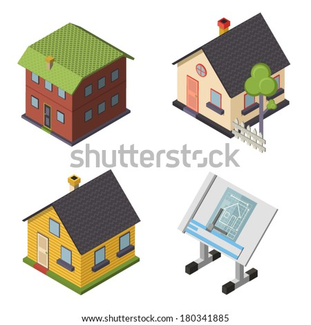 Isometric Retro Flat House Icons and Symbols set Isolated vector - stock vector