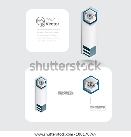 Isometric robot style techno pin vector design for visualization of positioning and business info graphics chart element, for  print, digital banner, and all different media. Scalable image.   - stock vector