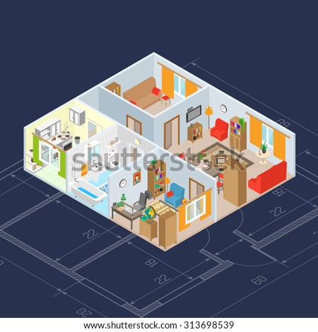 Isometric room interior concept with 3d kitchen and bathroom furniture icons vector illustration - stock vector