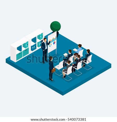isometric office furniture vector collection. isometric room multistoried office meeting gpuppovoe training coachers teacher 3d business workers men furniture vector collection