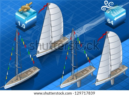 Isometric sail ships in navigation - stock vector