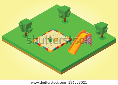 isometric sandbox and slides - stock vector