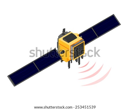 Isometric satellite in orbit sending a communications signal.  Satellite In Orbit. Satellite sending out a communications beam. - stock vector