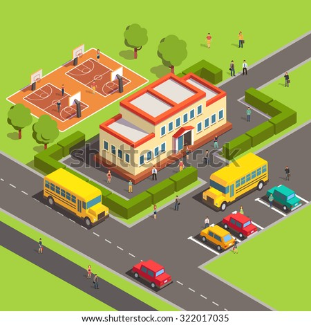 Isometric school building with people, courtyard and front yard, parking, bus, basketball court. Flat style vector illustration isolated on white background. - stock vector
