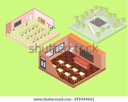 Isometric school buildings - stock vector