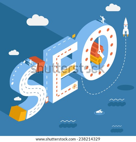 Isometric SEO, success internet searching optimization process illustration on the sky background with clouds - stock vector