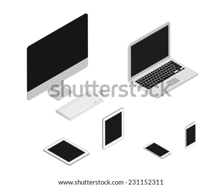 Isometric set of computer, laptop, tablet pc and smartphone. 3D devices - stock vector