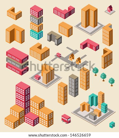 Isometric set of elements for info graphic on yellow - stock vector