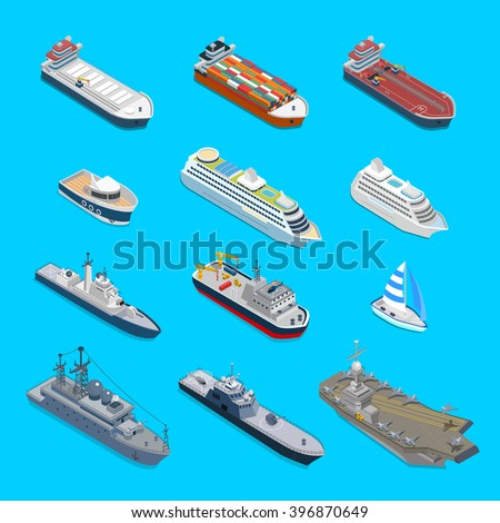 Isometric 12 ship detailed web vector icon set. Flat 3d isometry nautical naval civil military travel transport collection. Tanker cargo cruise ship aircraft carrier cruiser coast guard boat yacht. - stock vector
