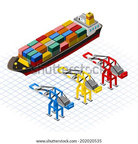 Isometric Ship with Cranes Vector Illustration - stock vector