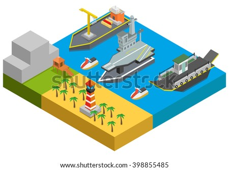 Isometric ships on water, trees. vector illustration - stock vector