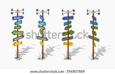 Isometric sign pole. Vector isometric sign pole. Isometric 3d sign pole. Isometric low poly sign pole. Isometric cartoon sign pole. Isometric sign pole set. Isometric sign pole collection. - stock vector