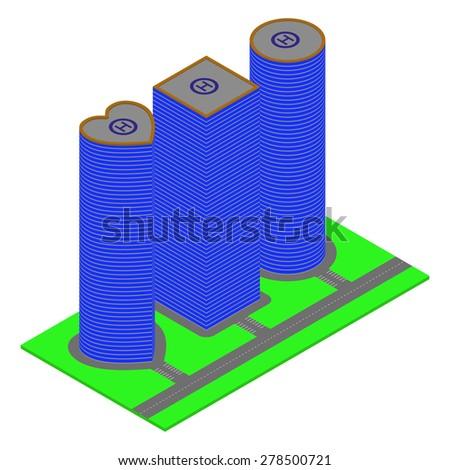 Isometric skyscrapers. Vector - stock vector