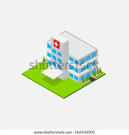 Isometric small hospital buiding, health and medical, isolated on white background vector illustration - stock vector