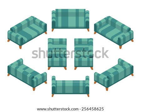 Isometric sofa with green and striped upholstery. The objects are isolated against the white background and shown from different sides - stock vector