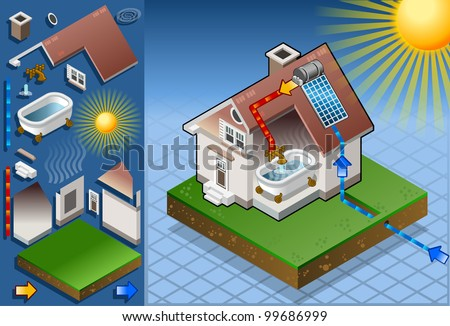 Isometric solar panel in production of hot water from the sun - stock vector