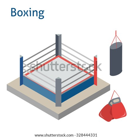 Isometric sport object. Boxing playground isolated on white. Sports infrastructure vector. Boxing playground, boxing gloves and punching bag vector. Location for web, app, game, informing