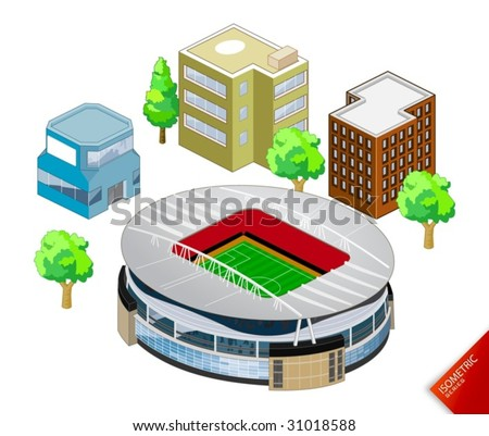Isometric Stadium vector. Isometric Series. Compose Your Own World Easily with Isometric Works. - stock vector