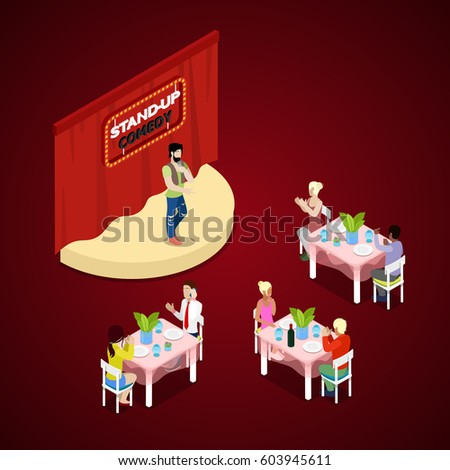 Isometric Stand Up Comedy Show With Theatre Stage And Comic Showman. Vector  3d Flat