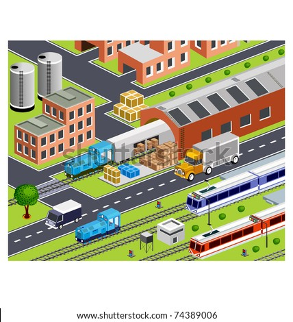 isometric station with all buildings and transport - stock vector