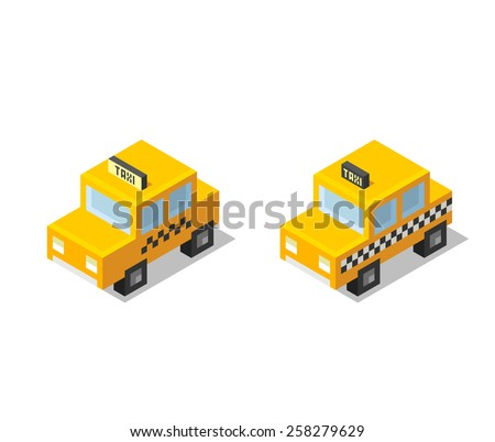 Isometric stylized cartoon taxi icons, 2 variants, isolated on white background. - stock vector
